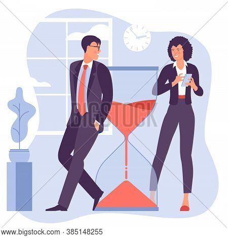 Young Man And Woman Successfully Organizing Their Tasks And Appointments. Flat Design Vector Illustr