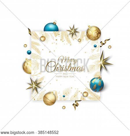 Merry Christmas And Happy New Year Holiday White Banner Illustration. Xmas Design With Realistic Vec