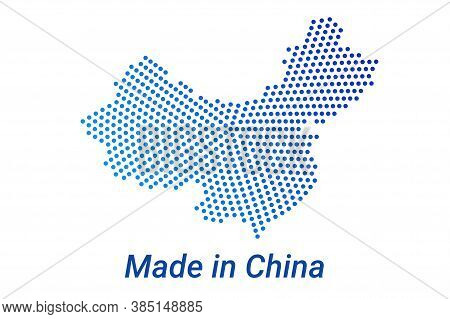 Map Icon Of China. Vector Logo Illustration With Text Made In China. Blue Halftone Dots Background.