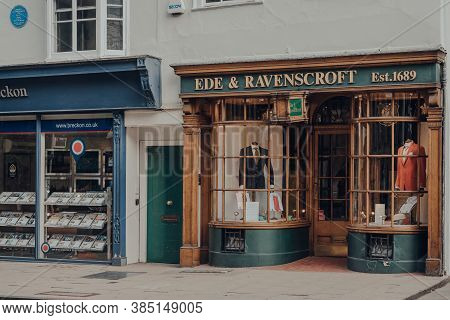 Oxford, Uk - August 04, 2020: Exterior Of Closed Ede & Ravenscroft Shop In Oxford, A City In England