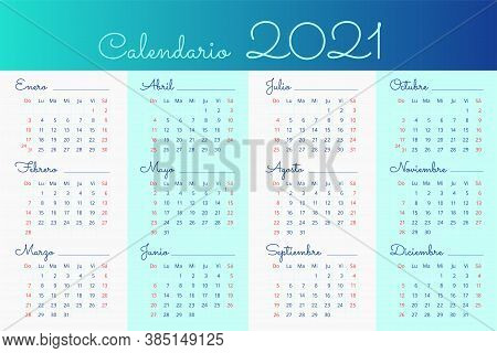 2021 Calendar In Spanish In Light White And Blue Background. Sundays And Saturdays Are Highlighted I