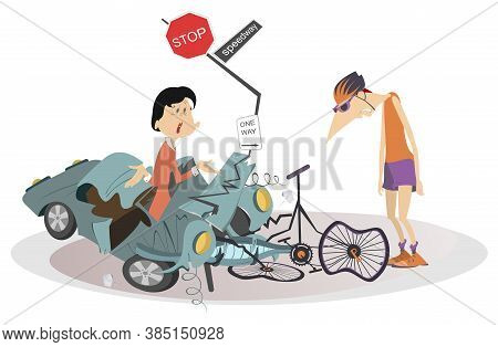 Road Accident, Driver, Cyclist And Broken Bike Illustration. Upset Driver Woman Asks The Sad Cyclist