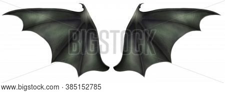 Green Dragon Wings With Talons On A White Background.
