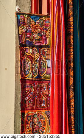 Panama City, Panama - November 30, 2008: Vibrant Colors On Indigenous Band Of Textile As Decoration