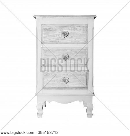House Furniture - Vintage Small Commode Isolated White Background.