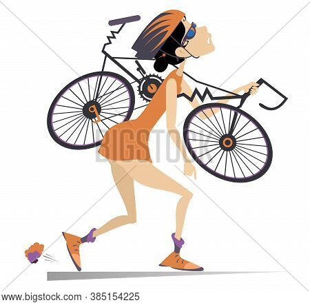 Tired Woman Cyclist With A Broken Bike Illustration. Tired Cartoon Cyclist Woman In Helmet Carries A