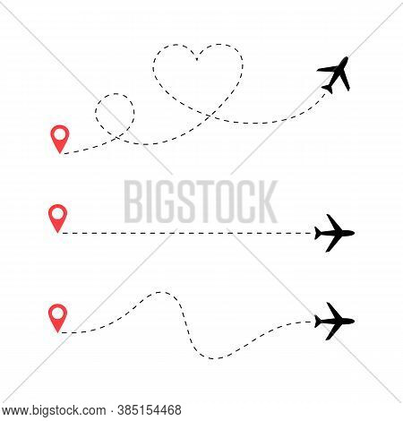 Travel Airplane Route Vector Set. Romantic Travel. Heart Dashed Line Flight Path