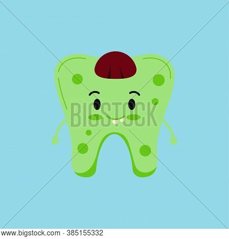 Cute Tooth In Zombie Costume Isolated Vector Icon. Green Tooth In Halloween Zombi Carnival Costume -
