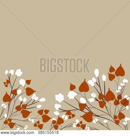 Autumn Template Of Greeting Card With Physalis And Cotton Branches