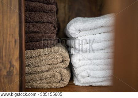 Spa Massage Wellness , Luxury Hotel, Guest House, Hostel Pile Of Towells. Confortable Relax Feeling