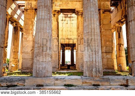 Temple Of Hephaestus Close-up In Sunlight, Athens, Greece. It Is Famous Landmark Of Athens. Sunny Fr