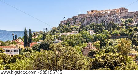Landscape Of Athens, Greece. Panoramic View Of Old Agora, Plaka District And Acropolis In Distance.