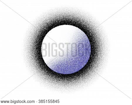 Dotwork Moon Pattern Vector Background. Sand Grain Effect. Night Noise Stipple Dots. Abstract Noise