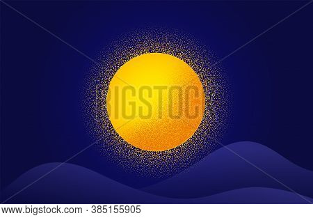 Abstract Dotwork Sun Background. Radial Sunburst Banner With Dotted Effect. Summer Night Banner. Fut