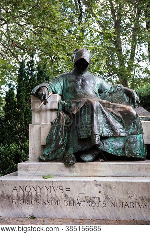 Budapest, Hungary - June 07, 2017: Monument To An Anonimus In Park Varosliget, Budapest. Author Of M