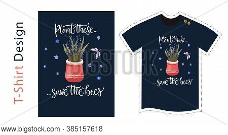 Vector T Shirt Design Vector Template For Kids And Adults. Lavender Detailed Illustration. Graphic T