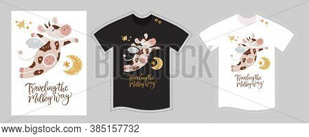 Vector T Shirt Design Vector Template For Kids On White And Black. Cute Cartoon Happy Flying Cow Det