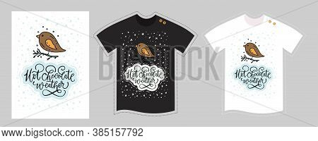 Christmas Vector T Shirt Design Vector Template For Kids And Adults On White And Black. Cute Cartoon