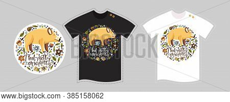 Vector T Shirt Design Vector Template For Kids And Adults On White And Black. Cute Woodland Pig Cart