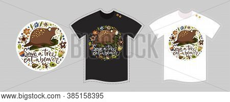 Vector T Shirt Design Vector Template For Kids And Adults On White And Black. Cute Woodland Cartoon