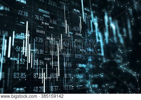 Digital Virtual Screen With Stock Data And Business Charts. Business Trading Concept. 3d Rendering