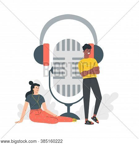 Podcast Concept Illustration.webinar, Online Training.young People Listening To Podcast.concept For