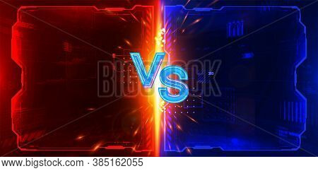 Futuristic Versus Poster Design For Game Battle, Cyber Sport, Mma, Gaming Championship, Online Tourn