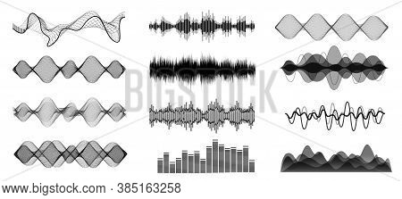Black And White Sound Waves. Voice Assistant Equalizer Set On White Background. Music Audio, Voice S