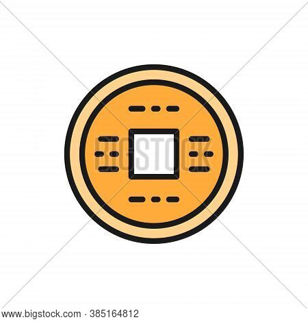 Japanese Money, Yen, Feng Shui Coin, Amulet For Good Luck Flat Color Line Icon.