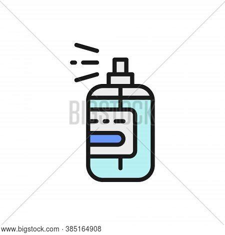 Perfume Jar, Fragrance Bottle Flat Color Line Icon.