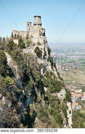 The First Tower of San Marino on Titano mount, Respublic of San Marino. Landscape