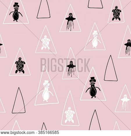 Vector Pastel Pink With Black And White Aquatic Seamless Pattern Background