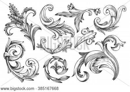 Baroque Element. Vintage Baroque Frame Beauty Element. Vector Victorian Floral Ornament Leaf Set. En