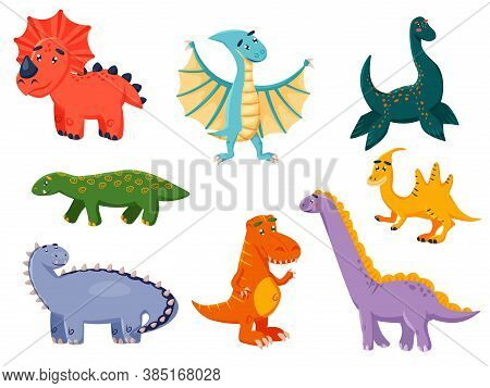 Funny Dinosaur. Kawai Monster Collection. Colorful Dinosaurs Cartoon Character Illustration. Prehist