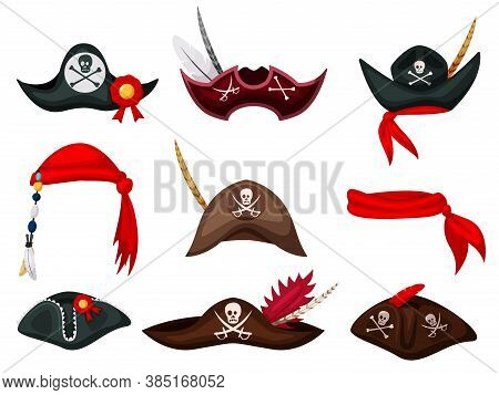 Pirate Hat. Carnival Pirate Mask, Hat And Bandana Costume Collection. Festive Clothes Accessory. Fil