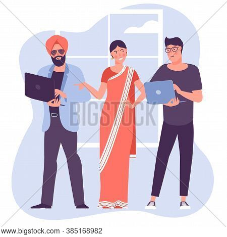 Multicultural Teamwork Illustration. Flat Desogn Vector Cartoon Characters Of People Of Different Na