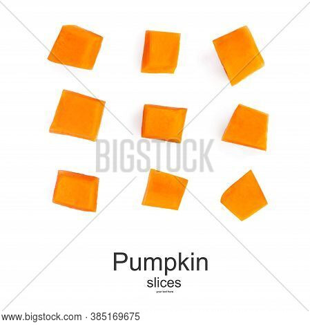 Creative Layout Made Of Pumpkin Pieces Cut In A Cube Slice Isolated On White Background. Diced Pumpk