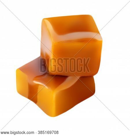 Two Square Pieces Toffee Caramel Close-up Isolated On White Background.  Caramel Candies With Sweet