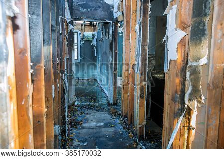 Completely Burnt Wooden House Consequences Of Fire In California Usa
