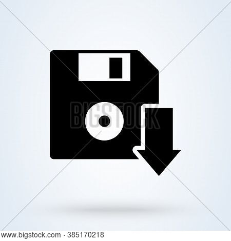 Diskette With Download Arrow Sign Icon Or Logo. The Floppy Disk Concept. Save To Diskette, Vector Il