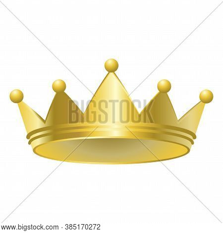 Gold Crown. Royal Headdress. Monarch Symbol. Emperors Emblem. Vector Illustration.
