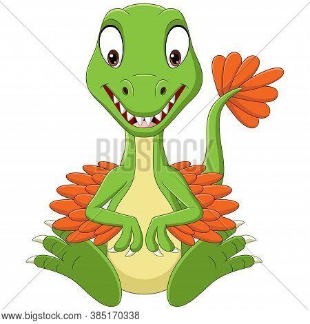 Vector Illustration Of Cartoon Baby Velociraptor Dinosaur Sitting