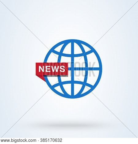 News World Or News Globe Sign Icon Or Logo. Line Digital News Concept. Online Broadcast, Linear Vect
