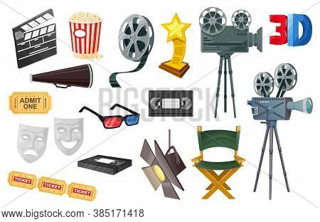 Cinema Vector Icons With Cartoon Movie Camera, Film Reel And Video Tape, Popcorn, 3d Glasses, Ticket