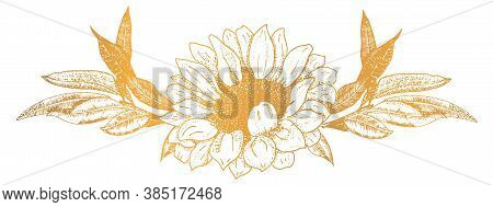 Vector Ornament, A Vignette Of A Sunflower And Some Branches, A Design Element For Hot Stamping, Han