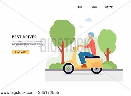 Header Of Website With Motorcyclist Riding Motorcycle Flat Vector Illustration.