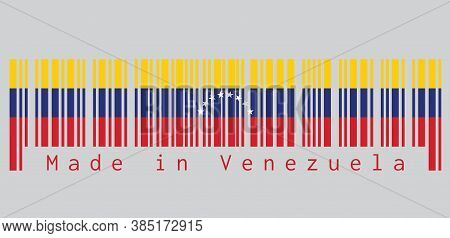 Barcode Set The Color Of Venezuela Flag, Yellow Blue And Red With An Arc Of Eight White Stars Center
