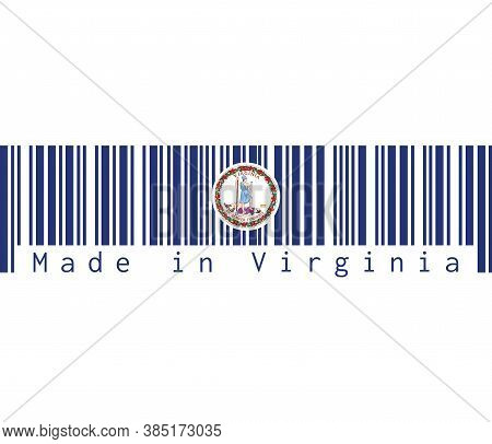 Barcode Set The Color Of Virginia Flag. Obverse Of The Seal Of Virginia On An Azure Field. Text: Mad