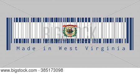 Barcode Set The Color Of West Virginia Flag. A Pure White Field Bordered On Four Sides By A Stripe O