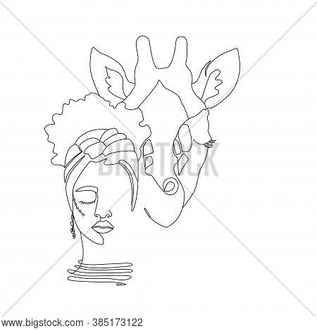 Continuous Line Art Or One Line Drawing. African Woman And Giraffe Vector Illustration, нuman And An